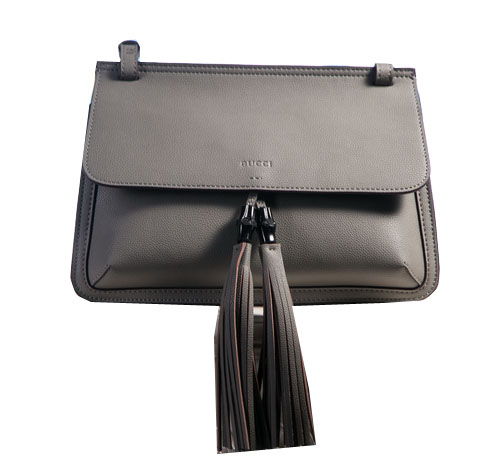 Gucci Bamboo Daily Leather Flap Shoulder Bags 370826 Grey