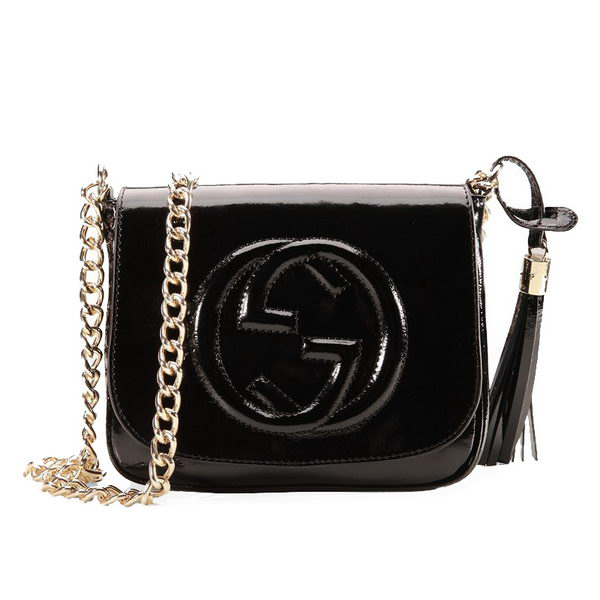 Gucci Soho Patent Leather Chain Shoulder Bag 323190 Black