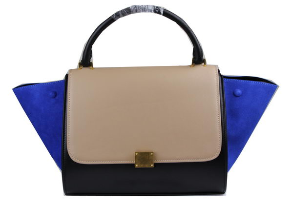 Celine Trapeze Bag Suede Leather C3342 Apricot&Black&Royal