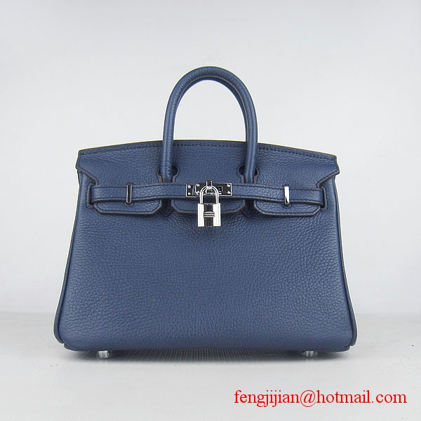Hermes Birkin 25cm  Togo Leather Handbag 6068 Dark Blue Silver Palladium hardware