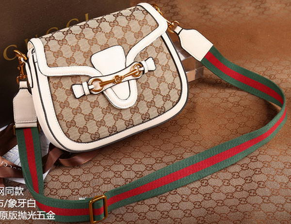 Gucci Lady Web Original GG Canvas Shoulder Bag 383848 White