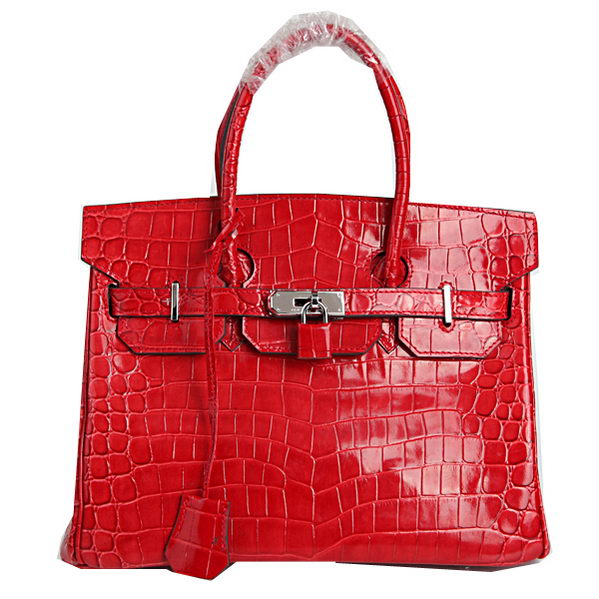 Hermes Birkin 30CM Tote Bags Red Iridescent Croco Leather Silver
