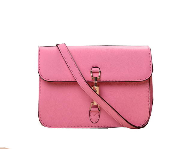 2014 Gucci Original Grainy Leather Shoulder Bag 335188 Pink