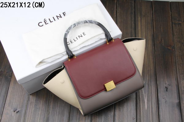 Celine MINI Trapeze Bag Original Leather CT3345 Burgundy&Grey&Offwhite