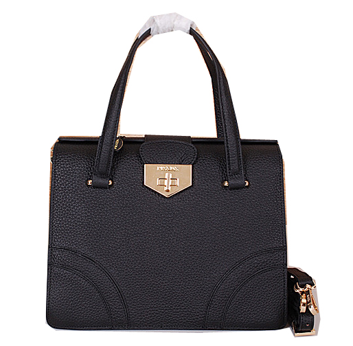 Prada Grainy Leather Top Handle Bag BN2725 Black