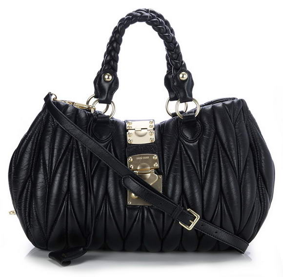 miu miu Mateleasse Top Handle Bags 080 Black