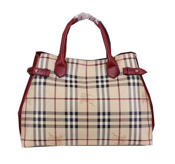 BurBerry Haymarket Check Tote Bag BU4548 Burgundy