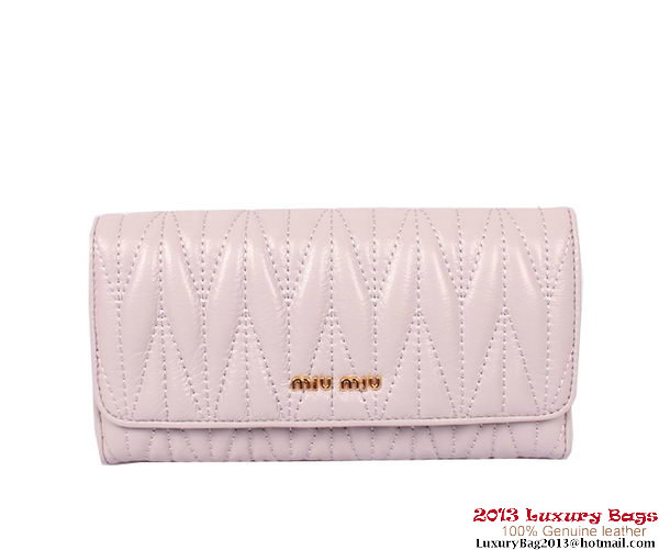 miu miu Matelasse Shiny Calf Leather Wallet 8008 Light Purple