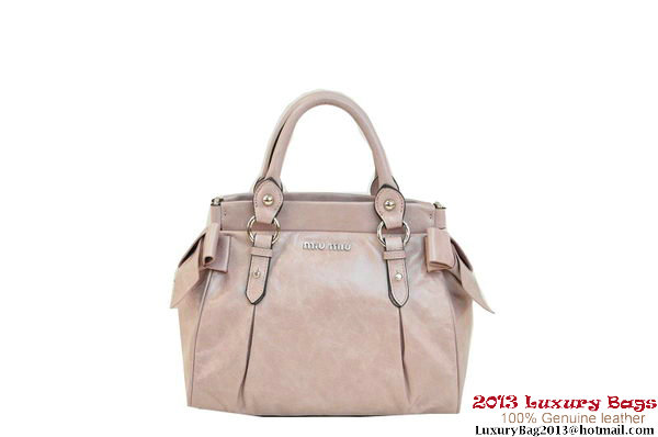 miu miu Shiny Calf Leather Bag with Leather Bow RN0955 Light Purple