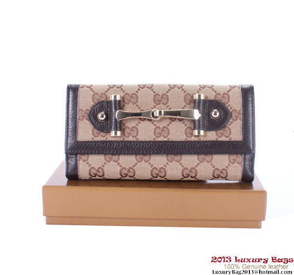 Gucci Continental GG Fabric with Leather Wallet 224257 Brown