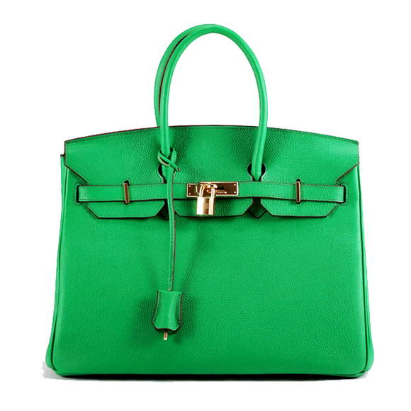 Hermes Birkin 35CM Smooth Leather Handbag 6089 Dark Green Golden