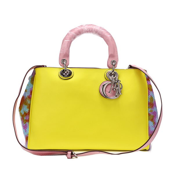 Dior Diorissimo Bag in Snake Leather D0902 Yellow