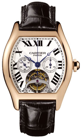 Cartier Tortue Tourbillon Fashionable Limited Edition Chronograph 18kt Rose Gold XL Mens Wristwatch-W1548151