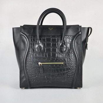Celine Crocodile Grain Leather Handbag 98170 Black