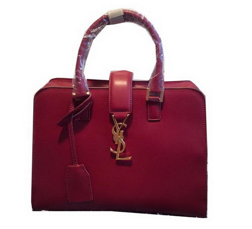 Saint Laurent Cabas Smooth Leather Top Handle Bag Y265764 Burgundy