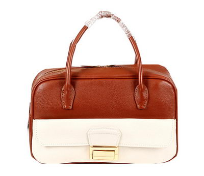 miu miu Original Goat Leather Tote Bag RT0093 White&Brown