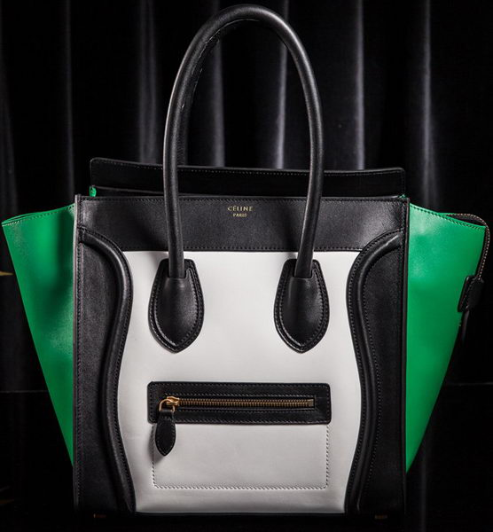 Celine Luggage Mini Tote Bag Original Leather CLS3308 White&Black&Green