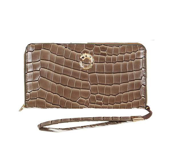 Cartier Croco Leather Clutch 8512-2 Khaki