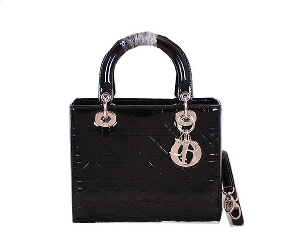 Christian Dior Patent Leather Lady Dior Bag CD0313 Black