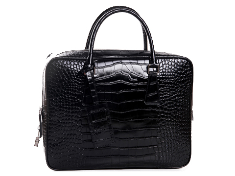PRADA Croco Leather Briefcase VS0305 Black