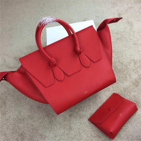 Celine Tie Top Handle Bags Grain Leather 98314 Red
