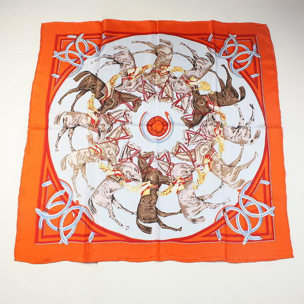 Hermes Scarves Silk Broadcloth WJH065 Orange