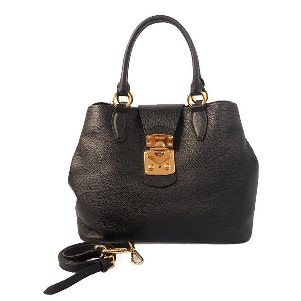 miu miu Original Leather Tote Bag 338908 Black