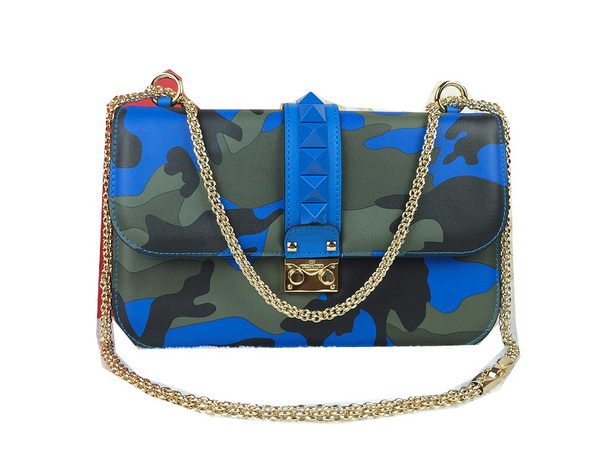 Valentino Garavani Shoulder Bag Camouflage Leather VO1914 Blue