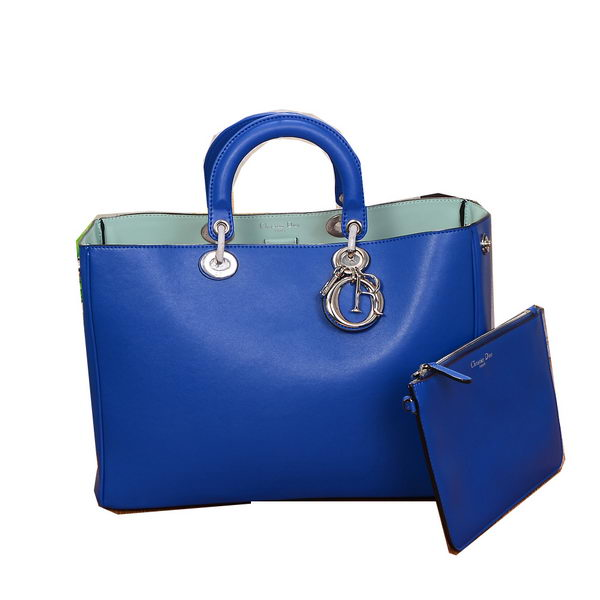 Dior Diorissimo Bag in Smooth Calfskin Leather V801 Blue