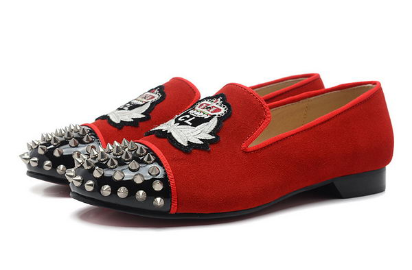 Christian Louboutin INTERN FLAT CL1340 Red Suede Silver