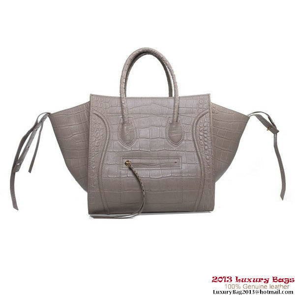 Celine Luggage Phantom Shopper Bags Croco Leather 16995 3341 Light Khaki