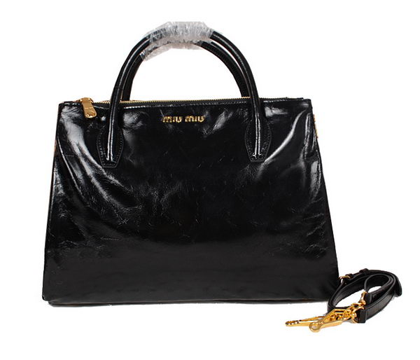 miu miu Shiny Calf Leather Tote Bag 33585 Black
