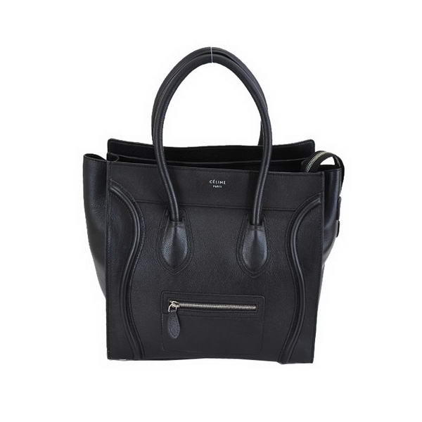 Celine Luggage Boston Tote Bags Calf Leather Black