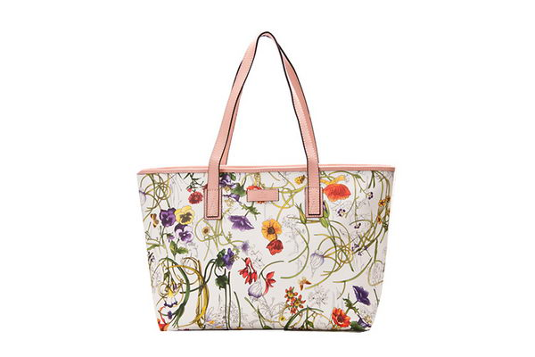 Gucci 211137 Pink Diaper Flora Leather Tote Bag