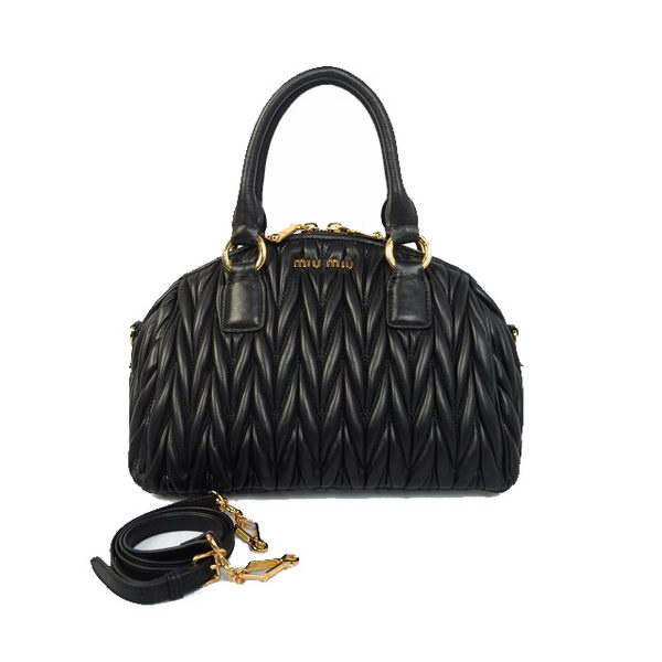 miu miu Matelasse Sheepskin Leather Top-handle Bag RL0066 Black