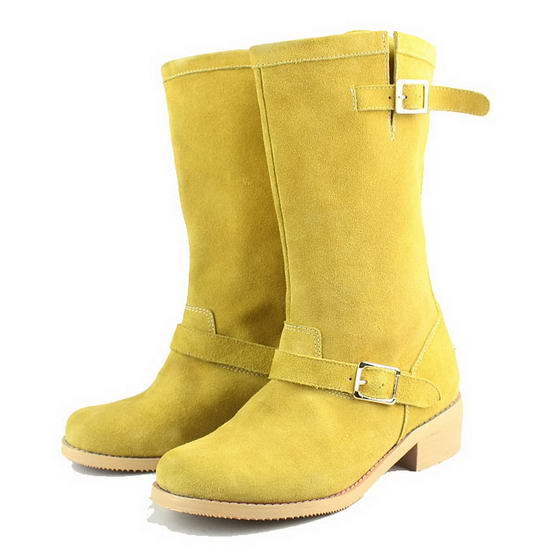 Jimmy Choo Suede Leather Ankle Boots Yellow