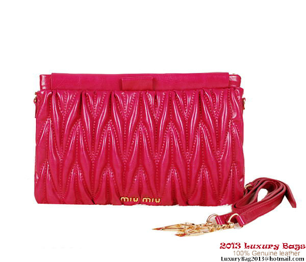 miu miu Matelasse Bright Leather Clutches 88101 Rose