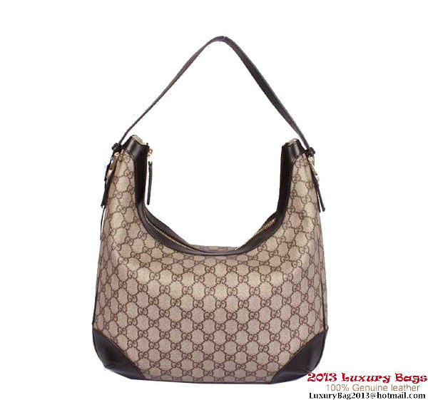 Gucci Nice GG Supreme Canvas Hobo Bag 309618 Brown