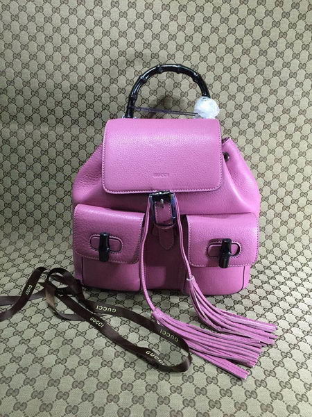 Gucci Original Bamboo Leather Backpack 370833 Orchid