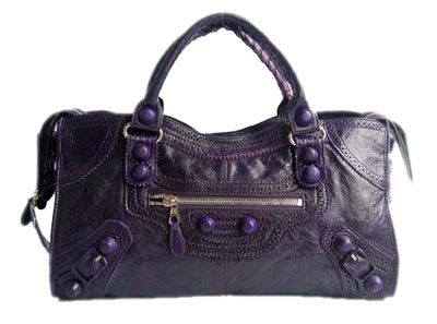 Balenciaga Lampskin Leather Handbag 084828 Dark purple