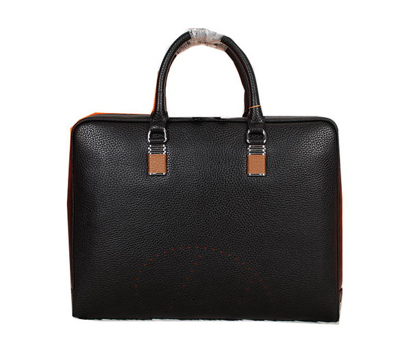 Hermes Briefcase Grainy Calf Leather H8253 Black