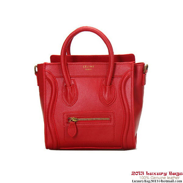 Celine Luggage Nano Shopper Bag Clemence Leather Red