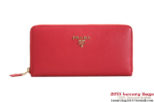Prada Saffiano Leather Wallet 1M0506 Red