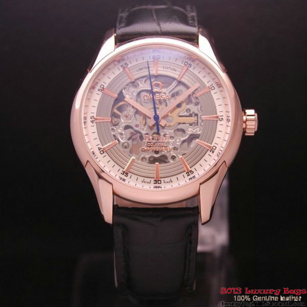 OMEGA DE VILLE Tourbillon Watches Red Gold on Black Leather Strap Om7014