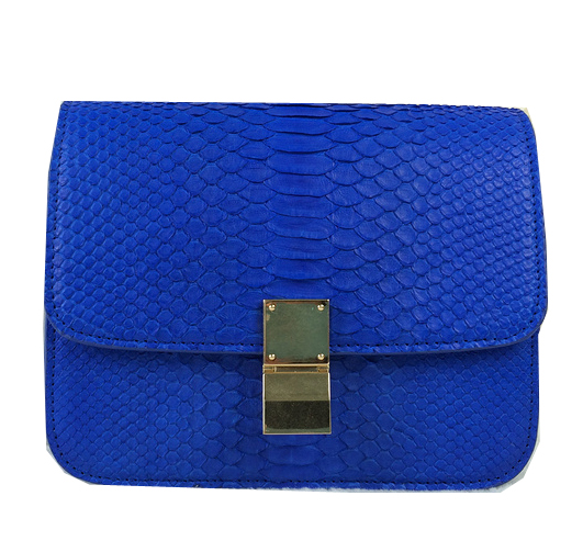 Celine Classic Box Small Flap Bag Snake Leather 11042 Blue