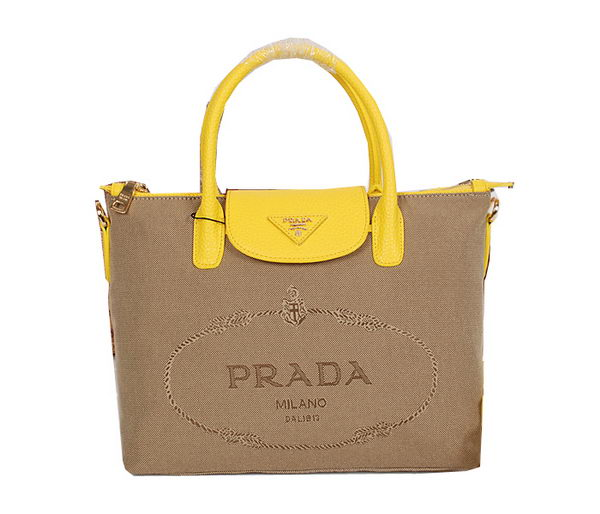 Prada Tessuto Canvas Leather Tote Bag BN2106 Yellow