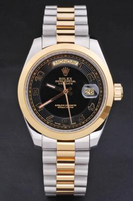 Rolex Day-Date Black&Golden Stainless Steel Watch-RD2876