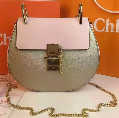 CHLOE Drew Shoulder Bags Calfskin Leather CO2709 Gold&Pink