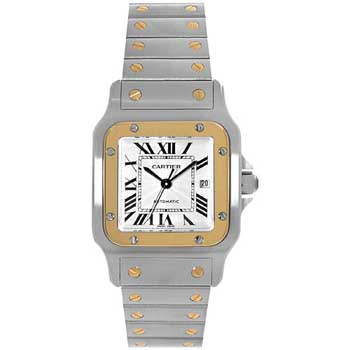 Cartier Santos Series 18kt Yellow Gold And Stainless Steel Mens Automatic Wristwatch-W20058C4