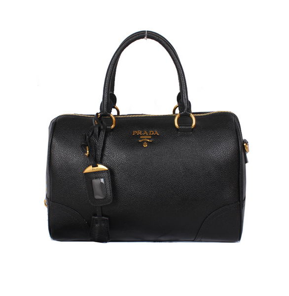 PRADA Grainy Leather Two Handle Bag BL0822 Black